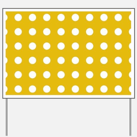 Mustard Yellow Polka Dots Yard Sign
