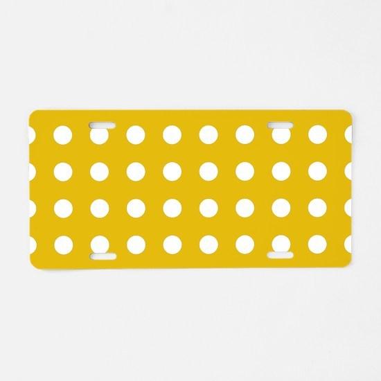 Mustard Yellow Polka Dots Aluminum License Plate