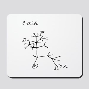 "Darwin Notebook - ""I think"" Mousepad"