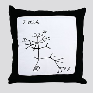 "Darwin Notebook - ""I think"" Throw Pillow"