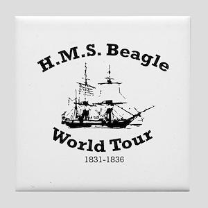 HMS Beagle world tour Tile Coaster