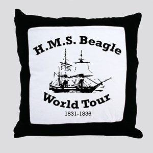 HMS Beagle world tour Throw Pillow