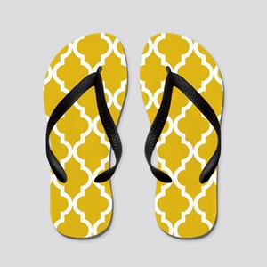 Mustard Yellow Moroccan Pattern Flip Flops