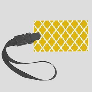 Mustard Yellow Moroccan Pattern Large Luggage Tag