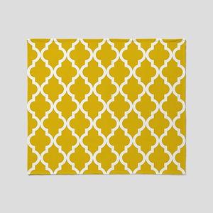 Mustard Yellow Moroccan Pattern Throw Blanket