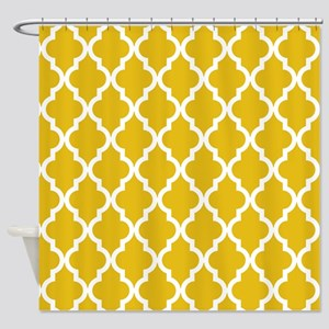 Mustard Yellow Moroccan Pattern Shower Curtain