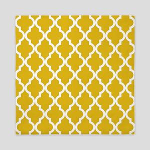 Mustard Yellow Moroccan Pattern Queen Duvet