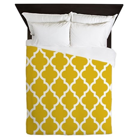 Mustard Yellow Moroccan Pattern Queen Duvet By Colored