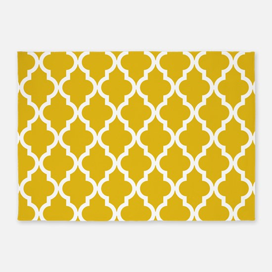 Mustard Yellow Moroccan Pattern 5'x7'Area Rug