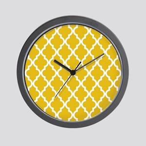 Mustard Yellow Moroccan Pattern Wall Clock