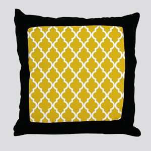 Mustard Yellow Moroccan Pattern Throw Pillow