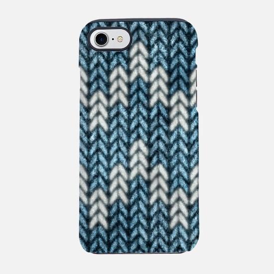 Blue Knit Graphic Pattern iPhone 7 Tough Case