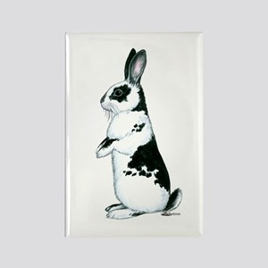 Black and White Rabbit Rectangle Magnet