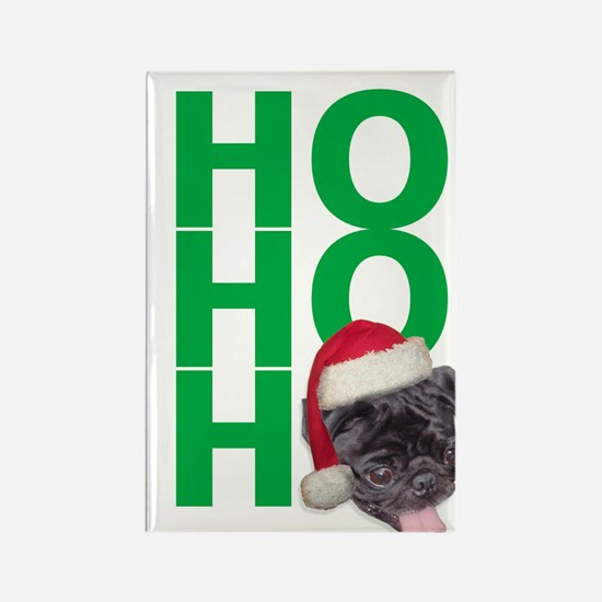 AllThingsPug.com Black Pug Santa Rectangle Magnet