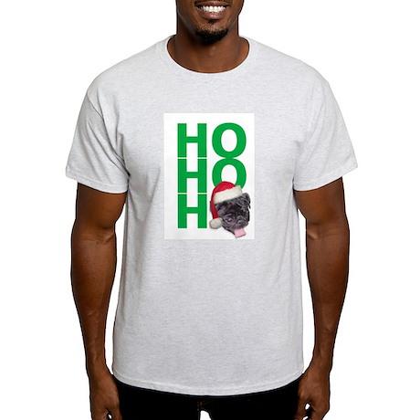 AllThingsPug.com Black Pug Santa Ash Grey T-Shirt