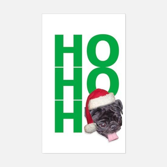 AllThingsPug.com Black Pug Santa Sticker (Rectangu