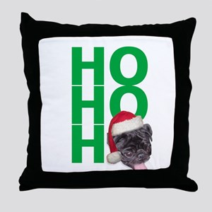 AllThingsPug.com Black Pug Santa Throw Pillow