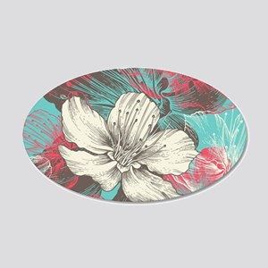 Beautiful Floral 20x12 Oval Wall Decal