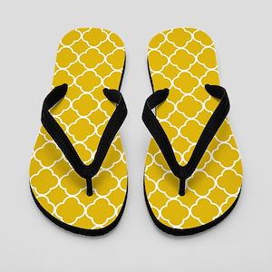 Mustard Yellow Clover Pattern Flip Flops