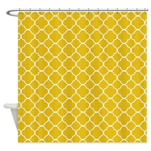 Mustard Yellow Clover Pattern Shower Curtain