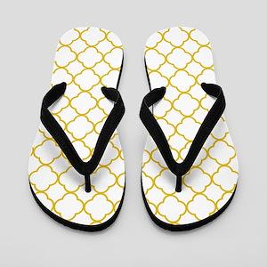 Mustard Yellow Clover Pattern (Reverse) Flip Flops