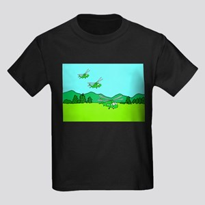 3 UH-60s Landing Kids Dark T-Shirt