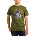 America Free and Brave Organic Men's T-Shirt (dark