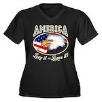 America - Love it Women's Plus Size V-Neck Dark T-
