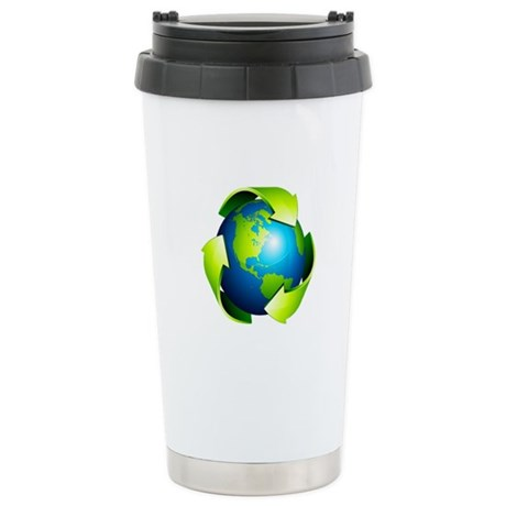 Recycle Blue Planet Sym Stainless Steel Travel Mug