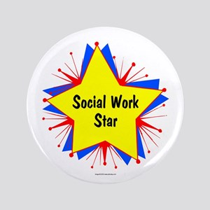 """Social Work Star Starburst 3.5"""" Button"""