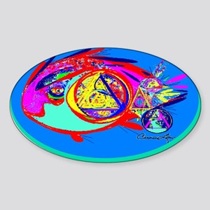 RECOVERY FISH Oval Sticker