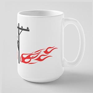 Lineman Flames Large Mug