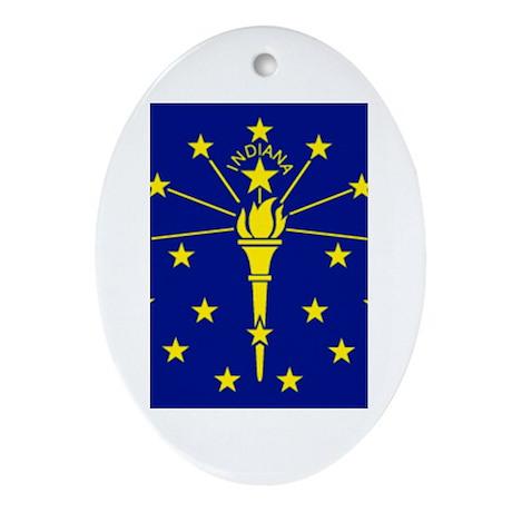 Indiana Flag Oval Ornament