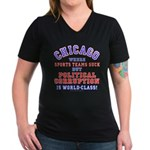 Corrupt Chicago Women's V-Neck Dark T-Shirt