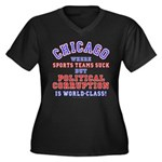 Corrupt Chicago Women's Plus Size V-Neck Dark T-Sh