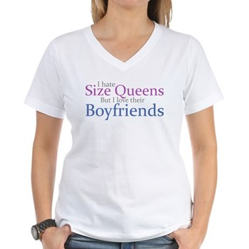 I Hate Size Queens Women's V-Neck T-Shirt
