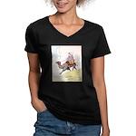Camel Art Women's V-Neck Dark T-Shirt
