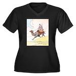 Camel Art Women's Plus Size V-Neck Dark T-Shirt