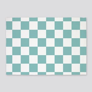 Chalky Blue Checkers Pattern 5'x7'Area Rug
