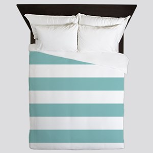 Chalky Blue Horizontal Stripes Queen Duvet