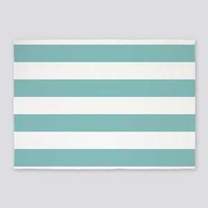 Chalky Blue Horizontal Stripes 5'x7'Area Rug