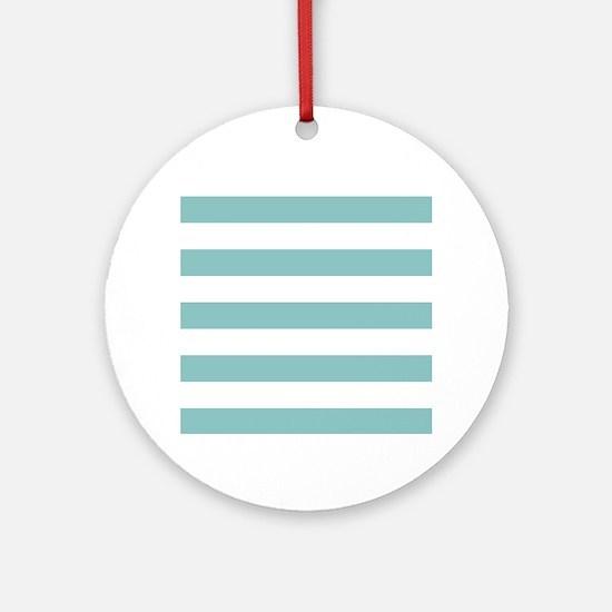 Chalky Blue Horizontal Stripes Round Ornament