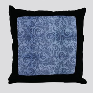 Blue Floral Denim Throw Pillow