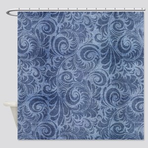 Blue Floral Denim Shower Curtain