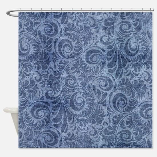 Blue Floral Denim Shower Curtain