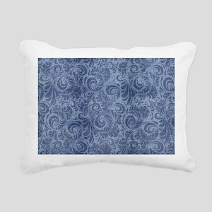 Blue Floral Denim Rectangular Canvas Pillow