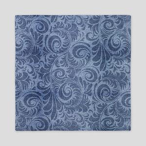 Blue Floral Denim Queen Duvet