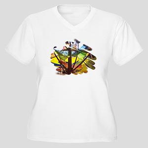 TREE OF COLORS Women's Plus Size V-Neck T-Shirt
