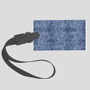 Blue Floral Denim Luggage Tag