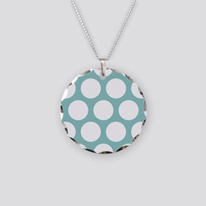 Chalky Blue Large Polka Dots Necklace Circle Charm